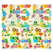 Детский коврик двухсторонний  слон/алфавит  XPE 200*180*1см