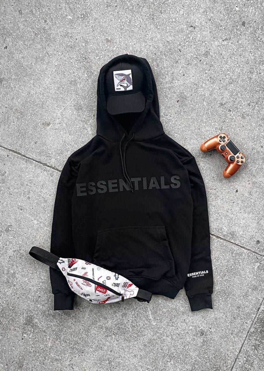 Чоловіча худі з написом Essentials (чорний) якісна з великою кишенею кофта sx25