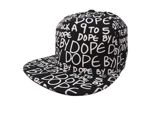Черная кепка DOPE с белыми надписями (реплика)