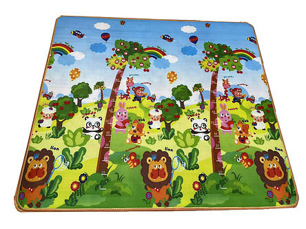 Дитячий ігровий двосторонній килимок EPE левеня+мишка 200x180x1 см, фото 2