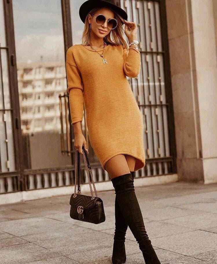 Ангоровое жіноче плаття Venecia Mustard