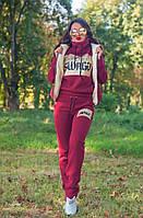 Женский стильный спортивный костюм тройка с меховой жилеткой (Батал и норма), фото 7