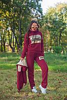 Женский стильный спортивный костюм тройка с меховой жилеткой (Батал и норма), фото 8