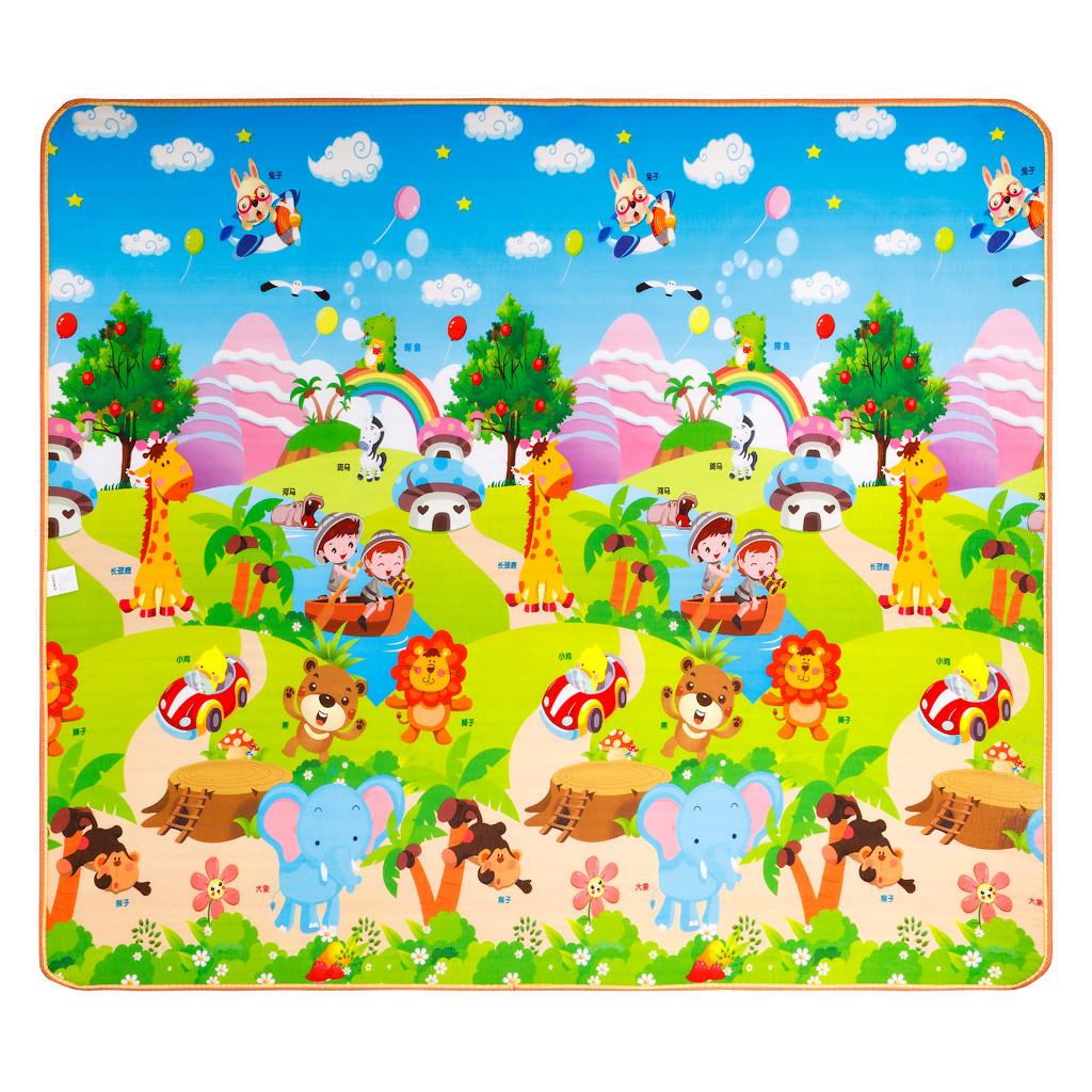 Детский двухсторонний коврик Город /поляна с животными EPE 200x180x0.5 см