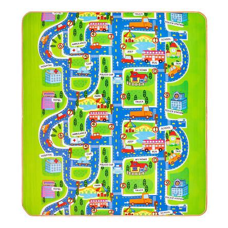 Детский двухсторонний коврик Город /поляна с животными EPE 200x180x0.5 см, фото 2