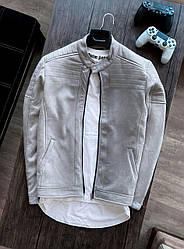 Чоловічий бомбер демісезонний стильний (сірий) модна куртка на осінь sc64