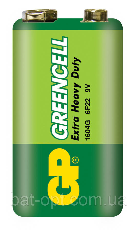 Батарейка солевая GP 1604G-S1 Greencell 6F22 9V крона (трей)