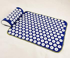 Набір килимок акупунктурний масажний + подушка Аплікатор Кузнєцова OSPORT (n-0002) Синьо-білий