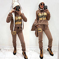 Жіночий теплий зимовий костюм трійка на хутрі (Норма і батал), фото 5