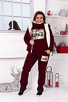 Жіночий теплий зимовий костюм трійка на хутрі (Норма і батал), фото 4