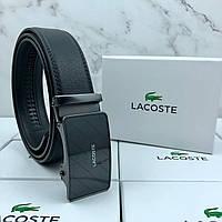 Ремень с пряжкой автомат мужской черный брендовый Лакост