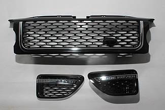 Решетка + жабры (черная + черная сетка + хром окантовка) Range Rover Sport 2005-2009