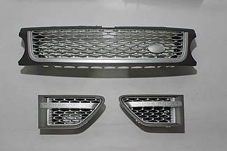 Решетка + жабры (серая + серая сетка + серая окантовка) Range Rover Sport 2009-2013
