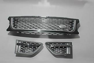 Решетка + жабры (серая + серая сетка + хром окантовка) Range Rover Sport 2009-2013