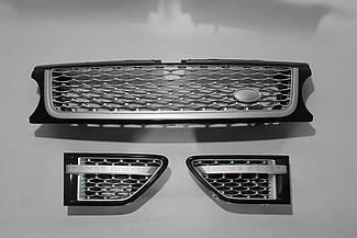 Решетка + жабры (черная + серая сетка + серая окантовка) Range Rover Sport 2010-2013