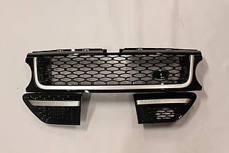 Решетка + жабры (черная + черная сетка + матовая окантовка) Range Rover Sport 2010-2013