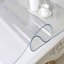 Гнучке (м'яке, рідке) скло скатертину на стіл Soft Glass 1.0х1.4м (товщина 2.0 м) Прозора