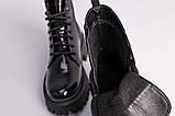 Ботинки женские кожа наплак черного цвета на черной подошве, фото 6
