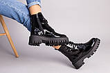 Ботинки женские кожа наплак черного цвета на черной подошве, фото 8