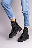 Ботинки женские кожа наплак черного цвета на черной подошве, фото 10