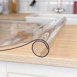 Гнучке (м'яке, рідке) скло скатертину на стіл Soft Glass 1.2х1.4м (товщина 2.0 м) Прозора
