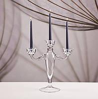 Подсвечник стеклянный на три свечи