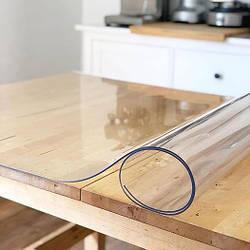 Гнучке (м'яке, рідке) скло скатертину на стіл Soft Glass 1.6х1.4м (товщина 2.0 м) Прозора