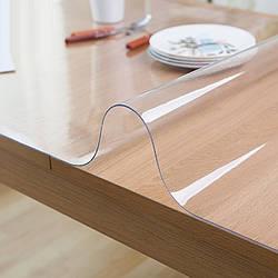 Гнучке (м'яке, рідке) скло скатертину на стіл Soft Glass 1.9х1.4м (товщина 2.0 м) Прозора