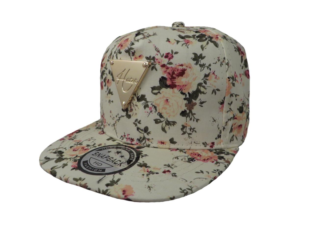 Бежевая кепка Hater с цветами
