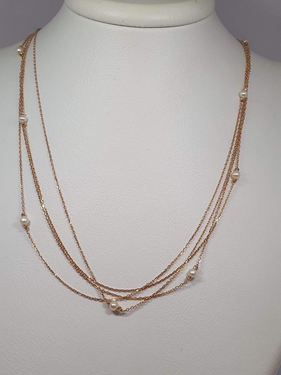 Золоте кольє з перлами. Артикул 811034