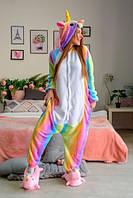 Кигуруми единорог радужный для девушек теплая уютная домашняя одежда кенгуруми пижама для дома женская
