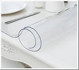 Гнучке (м'яке, рідке) скло скатертину на стіл Soft Glass 2.2х1.4м (товщина 2.0 м) Прозора