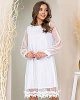 Нова колекція!!! Ошатне плаття трапеція з мереживом, артикул 407, колір білий / біле срібло