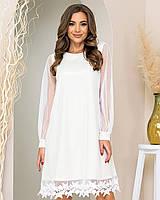 Нова колекція!!! Ошатне плаття трапеція з мереживом, артикул 407, колір білий / біле золото