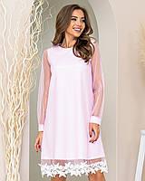 Нова колекція!!! Ошатне плаття трапеція з мереживом, артикул 407, колір пудра