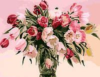 Раскраски по номерам на холсте цветы Тюльпаны в вазе худ. Чачева, Татьяна 40 х 50 см KH1072