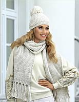 Шикарный комплект крупной вязки (шапка+шарф) от Kamea - Molly 54-60, молочный