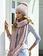 Шикарный комплект крупной вязки (шапка+шарф) от Kamea - Molly 54-60, розовый