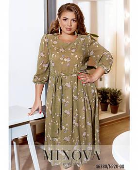 Элегантное платье из шифона с пышным подолом с цветочным принтом с отрезным подолом с 48 по 54 размер
