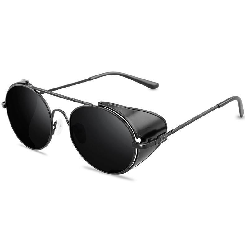 Сонцезахисні окуляри з шорами в стилі стімпанк з чорною оправою (арт. 17306/3)