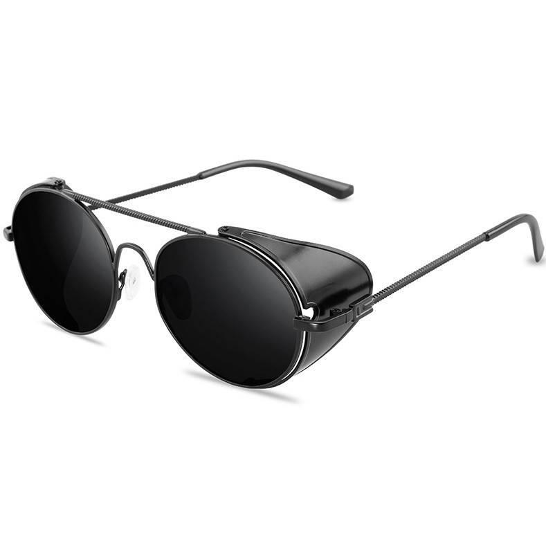 Сонцезахисні окуляри з шорами в стилі стімпанк з чорною оправою (арт. 17306/3), фото 2