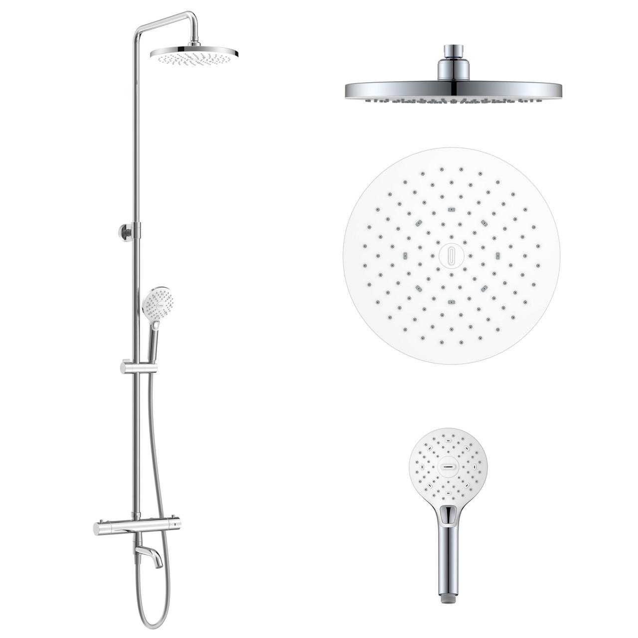 CENTRUM SR система душова (термостат для ванни, верхній душ 255 мм ABS коло, ручний душ 113 мм 3 режими,
