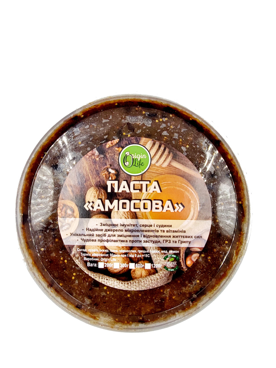 Паста Амосова 600г натуральная витаминная смесь из сухофруктов, орехов и меда