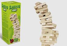 Настольная игра Дженга Эко, Падающаяя башня, 54 деревянных бруска, Игра дженга