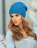 Красивая шапочка крупной вязки, украшенная люрексовой нитью от Kamea - Valeria.