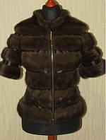Полушубок норковый АВТО-ЛЕДИ вставки кожзам чёрный.