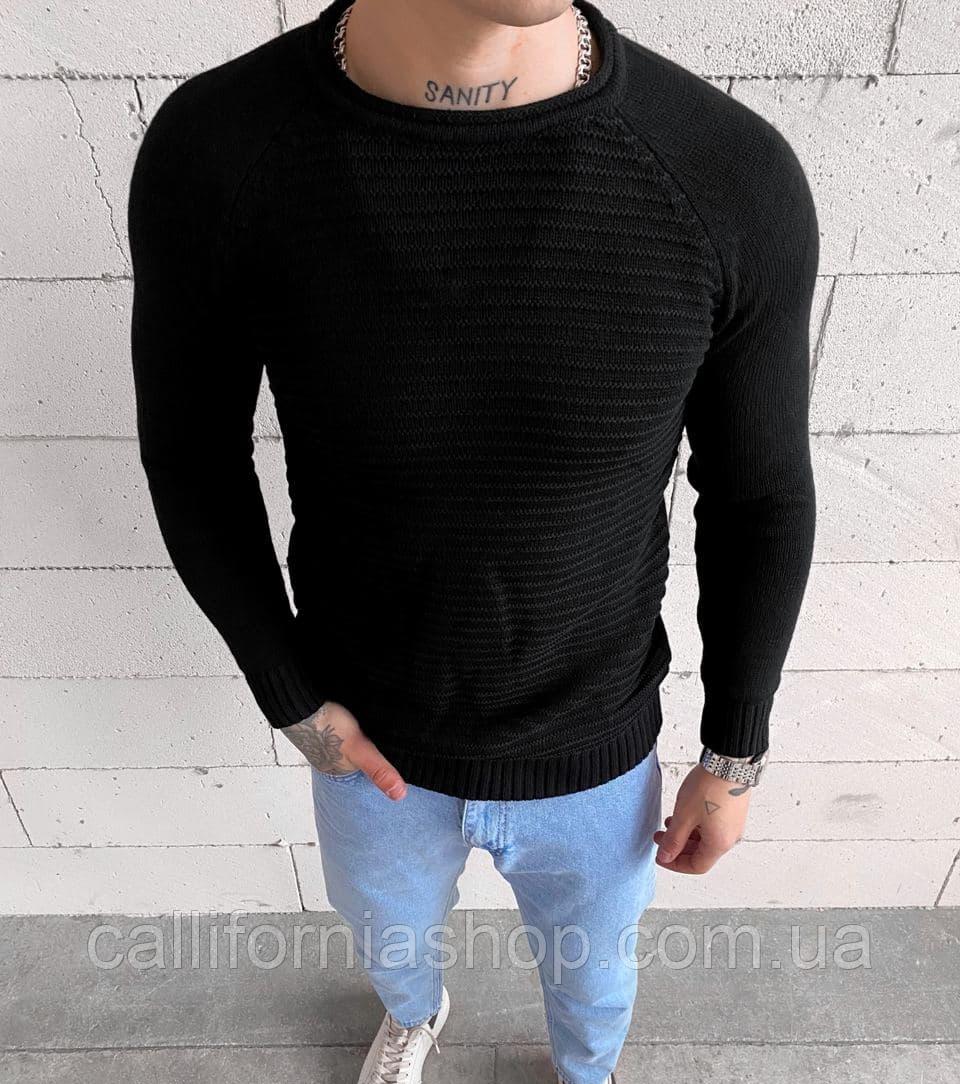 Чоловічий чорний светр з круглим вирізом, з довгим рукавом Турецький
