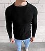 Чоловічий чорний светр з круглим вирізом, з довгим рукавом Турецький, фото 2
