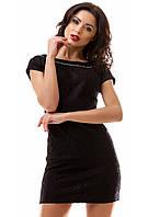 Платье гипюровое на атласе 8- 7007
