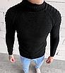 Мужской свитер черный с воротником под горло с узором теплый, фото 2